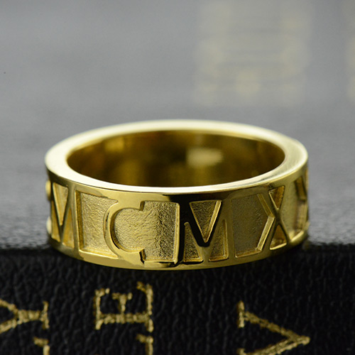 Roman Numerals Band Ring