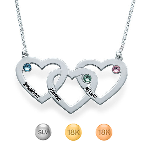 Intertwined Hearts Necklace with Birthstones
